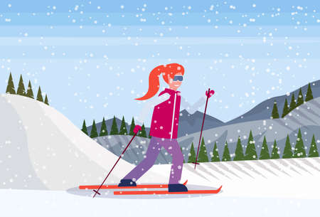 skier woman sliding down snowy mountain fir tree forest landscape background girl skiing winter vacation flat horizontal vector illustration Banque d'images - 127709710