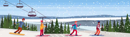 skiers and snowboarders sliding down winter snowy mountain fir tree forest landscape cable car background ski resort horizontal banner flat vector illustration