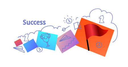 successful business strategy success concept sketch doodle horizontal isolated flat vector illustration