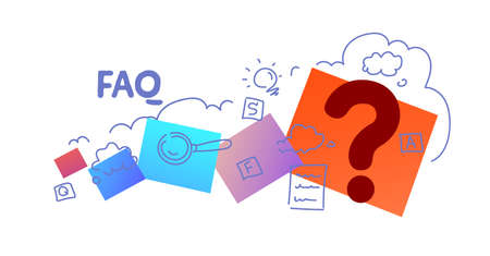 question mark icon contact us FAQ information concept sketch doodle horizontal isolated flat vector illustration