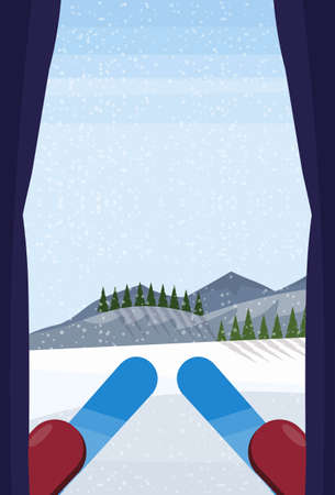 profesional skier at top of slope winter snowy mountain hill fir tree forest landscape background sport vacation concept vertical flat vector illustration