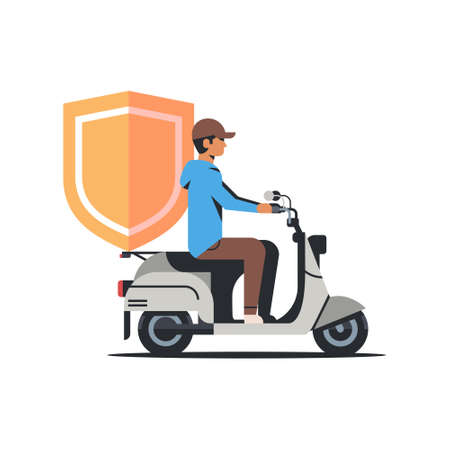 security man riding scooter with shield business protection safe privacy database concept isolated flat vctor illustration Illustration