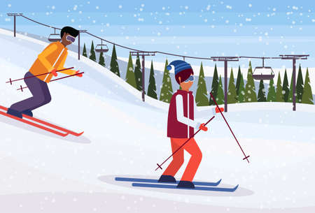 mix race skiers sliding down winter snowy mountain fir tree forest landscape cable car background ski resort horizontal flat vector illustration