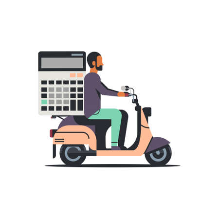 man accountant riding scooter with calculator finance analysis concept isolated flat vector illustration