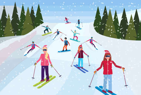 skiers sliding down snowy mountain hill fir tree landscape background people skiing winter vacation concept flat horizontal vector illustration Banque d'images - 127709737