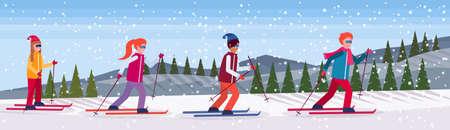 Groupe de skieurs glissant montagne enneigée sapin forêt paysage fond personnes ski vacances d'hiver télévision horizontale illustration vectorielle