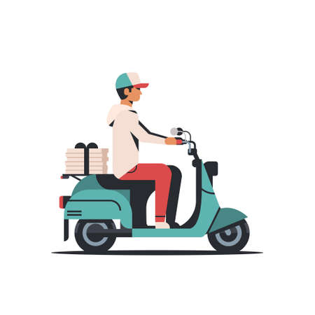 man courier riding scooter with pizza boxes fast food delivery service concept isolated flat vector illustration Stock Vector - 127709752