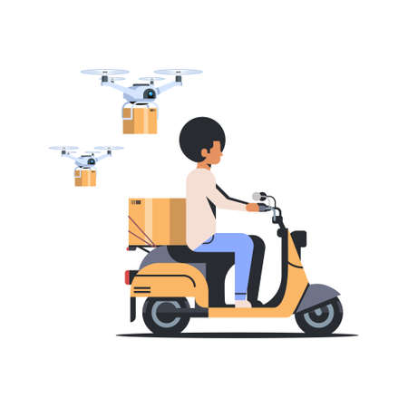 african american man courier riding scooter with parcel box drone delivery service concept isolated flat vector illustration