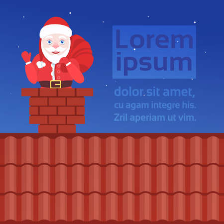 santa claus in chimney on roof merry christmas happy new year concept flat portrait horizontal copy space vector illustration Ilustracja