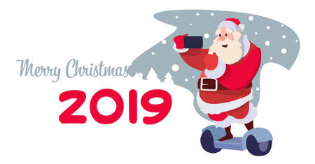 santa claus ride electric scooter taking selfie christmas holiday new year concept flat horizontal vector illustration