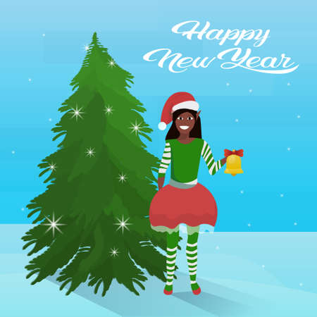 african american girl elf costume near fir tree happy new year merry christmas concept flat vector illustration