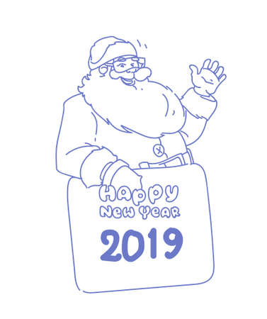 santa claus holding board hand waving winter holidays happy new year merry christmas concept sketch doodle vector illustration Illustration
