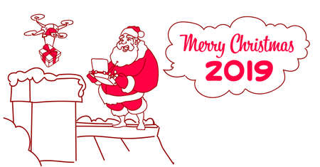 santa claus on roof hold controller drone delivery present new year christmas holiday concept sketch doodle horizontal vector illustration
