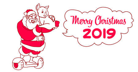 santa claus hold piggy bank ride electric scooter christmas holiday new year concept sketch doodle horizontal vector illustration Illustration