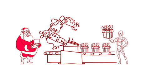 santa claus hold controller conveyor robotic system modern robot artificial intelligence concept sketch doodle horizontal vector illustration