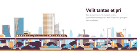 subway train over modern city panorama high skyscrapers cityscape background horizontal banner line copy space vector illustration