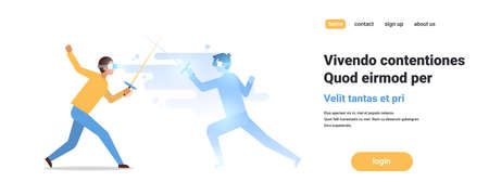 man fencer wear digital glasses fighting with virtual reality opponent fencing athlete vr vision headset innovation concept isolated flat horizontal copy space vector illustration Illustration