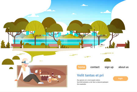 woman wear digital glasses having picnic in city urban park virtual reality vr vision headset innovation concept flat horizontal copy space vector illustration