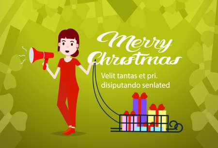 woman hold megaphone gift boxes in sledge happy new year merry christmas concept copy space horizontal flat vector illustration Illusztráció
