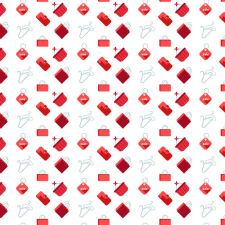shopping icons seamless pattern white background flat vector illustration