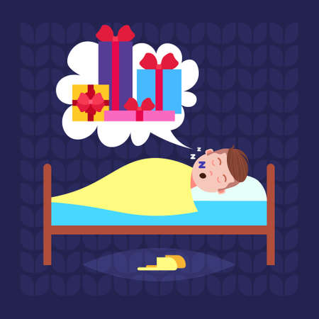 man sleep in bad dream bubble gift box present merry christmas happy new year holidays concept flat vector illustration