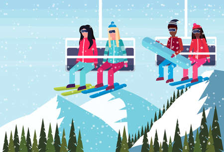 mix race couples skiers on chairlift ski resort extreme tourism concept winter snowy mountains forest landscape background flat horizontal vector illustration
