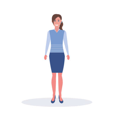 businesswoman standing pose business woman office worker female cartoon character full length flat isolated vector illustration