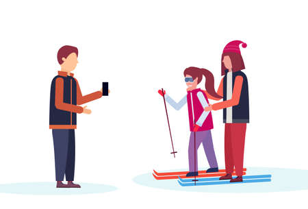 man taking photo skiers couple winter vacation concept flat isolated horizontal vector illustration