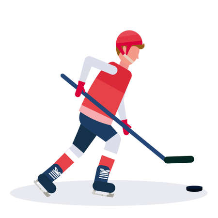 professional ice hockey player holding stick skating with pack male cartoon character full length flat isolated vector illustration