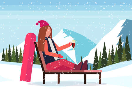 woman relaxing on lounge chair after snowboarding at ski resort girl drinking mulled wine winter vacation concept snowy mountain landscape flat horizontal vector illustration