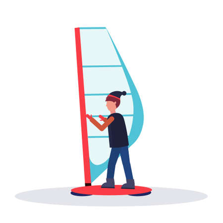 man windboarder holding sail guy windboarding windsurfing on snow concept extreme winter sport male cartoon character full length flat isolated vector illustration Illustration
