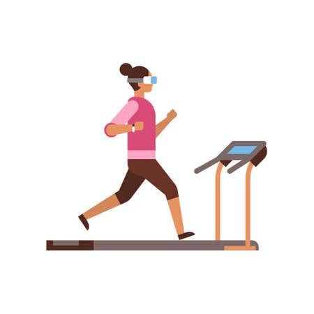 sport woman wear vr glasses running on treadmill girl cardio training concept fitness lady workout simulator isolated flat vector illustration Stock Illustratie