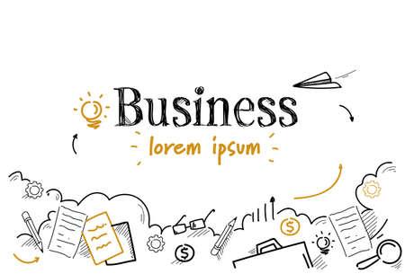 成功したビジネス戦略の概念スケッチ落書き水平孤立したベクトルのイラスト ベクターイラストレーション