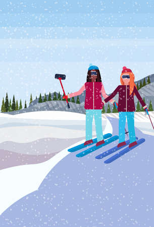 women couple skiers taking selfie winter snowy mountain hill fir tree forest landscape background vertical flat vector illustration Ilustracja