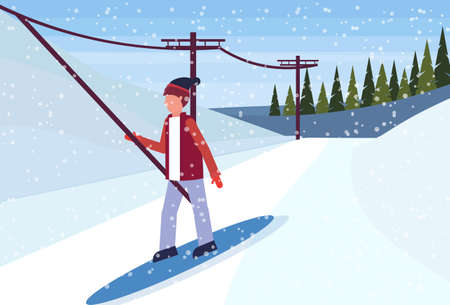 man snowboarder using ski lift cable way winter snowy mountain fir tree forest landscape horizontal flat vector illustration