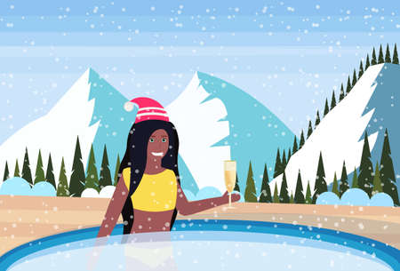 woman hold champagne relax in outdoor swimming pool luxury resort snowy mountains fir tree forest landscape background winter vacation concept flat horizontal vector illustration Illustration