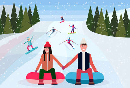 couple sledding on snow rubber tube over snowboarders skiers people sliding down snowy mountain hill fir tree landscape background winter vacation concept flat horizontal vector illustration  イラスト・ベクター素材