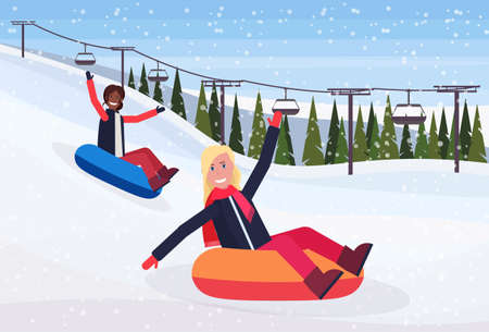 mix race women sledding on snow rubber tube winter vacation activity concept cable car snowy mountains fir tree forest landscape horizontal flat vector illustration Ilustrace