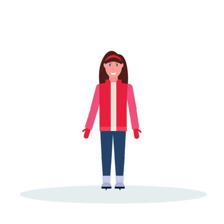 woman skater wearing winter clothes girl skating female cartoon character full length flat isolated vector illustration Illusztráció