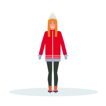 woman skater wearing winter clothes girl skating female cartoon character full length flat isolated vector illustration Ilustração