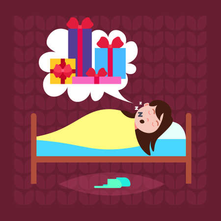 woman sleep in bad dream bubble gift box present merry christmas happy new year holidays concept flat vector illustration
