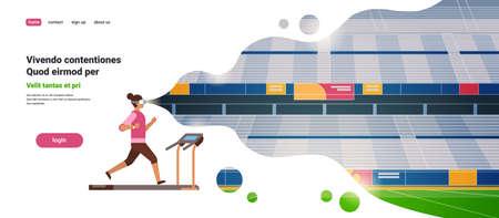woman wear vr glasses running on treadmill virtual reality stadium track vision headset innovation concept flat horizontal copy space vector illustration