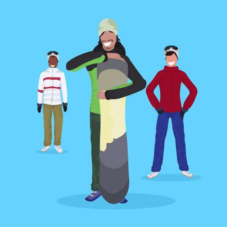 men snowboarders holding snowboard wearing ski suit happy guys winter vacation activity concept male cartoon character full length flat vector illustration 版權商用圖片