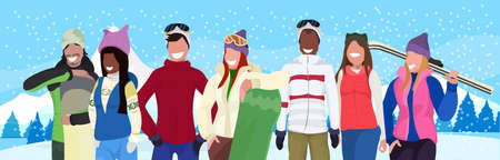 mix race skiers snowboarders holding equipment people wearing winter clothes vacation activity concept fir tree snowy forest landscape flat horizontal portrait vector illustration 写真素材