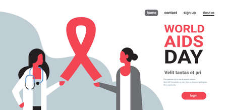 World AIDS day awareness red ribbon sign female doctor woman consultation prevention poster horizontal flat copy space vector illustration