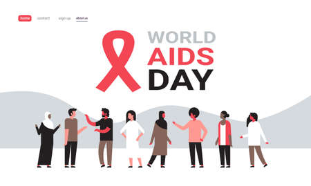 World AIDS day awareness red ribbon sign mix race people group communication medical prevention poster horizontal flat vector illustration