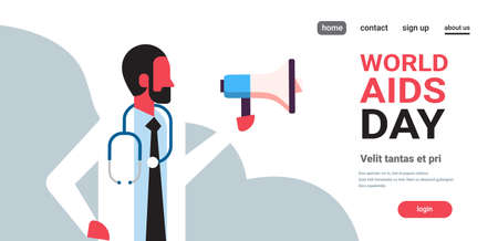 World AIDS day awareness male doctor hold loudspeaker medical consultation announcement concept prevention poster horizontal flat male portrait copy space vector illustration