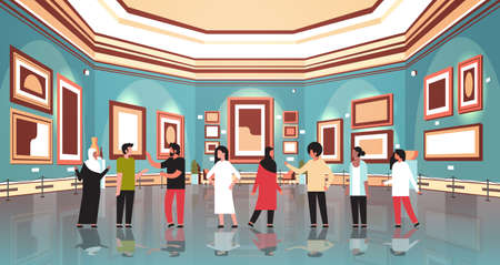 mix race people tourists in modern art gallery museum interior looking creative contemporary paintings artworks or exhibits visitors communication concept horizontal vector illustration Vector Illustration