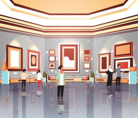 People tourists viewers in modern art gallery museum interior looking creative contemporary paintings artworks or exhibits flat vector illustration