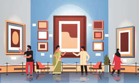 mix race tourists viewers in modern art gallery museum interior looking creative contemporary paintings artworks or exhibits flat vector illustration Illusztráció